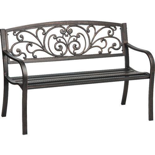 Antique Garden Bench Wrought Iron Chair Metal Seat for Outdoor Patio Backyard