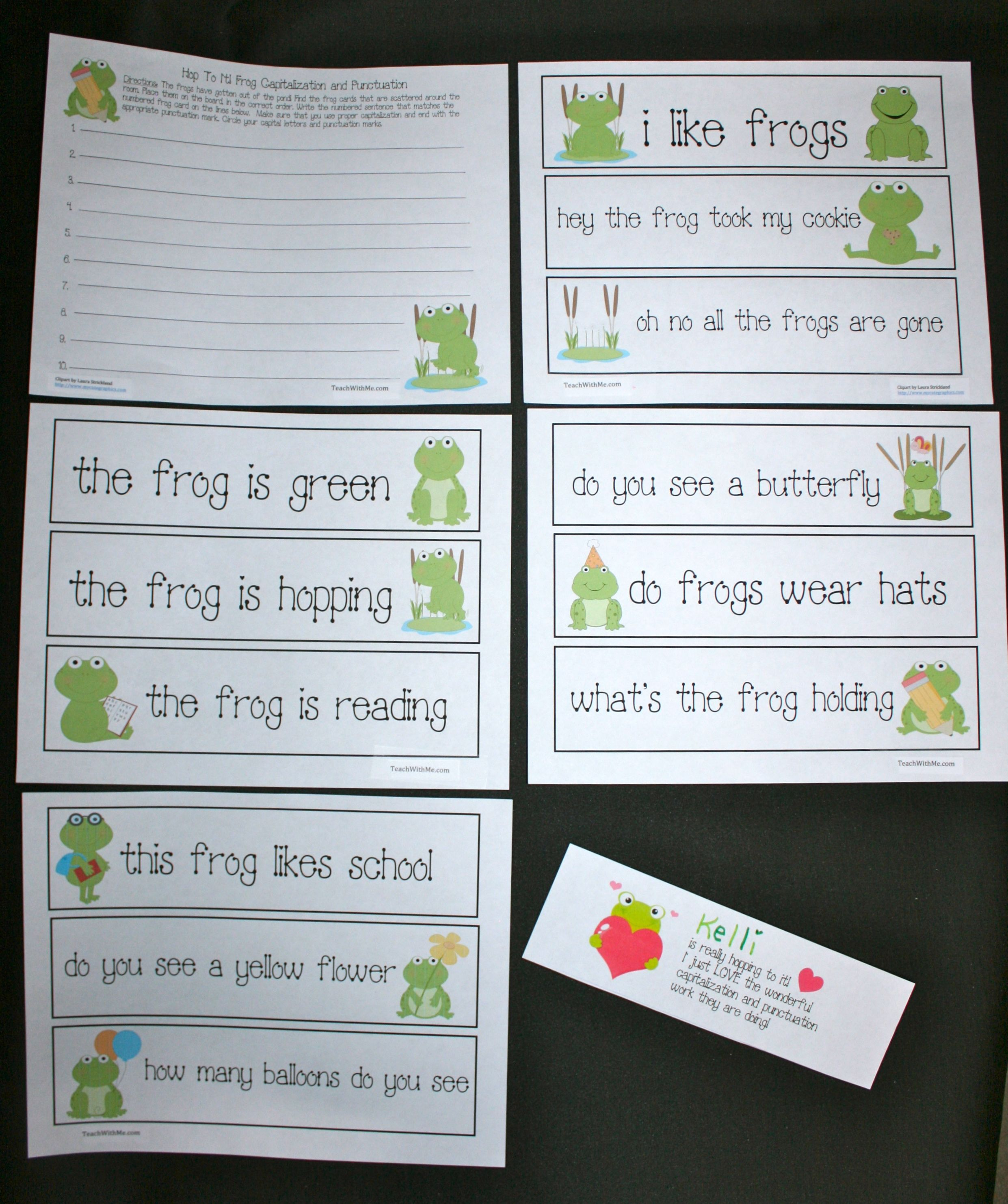 Frog Punctuation Capitalization Activities | Recording sheets ...