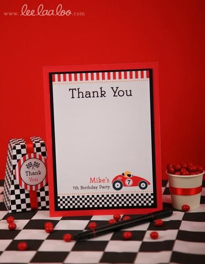 hwtm - Red Racing Car - iconography: stripes, checks, flags, cars, trophies, gas stations, signal lights, smokey trails, race tracks