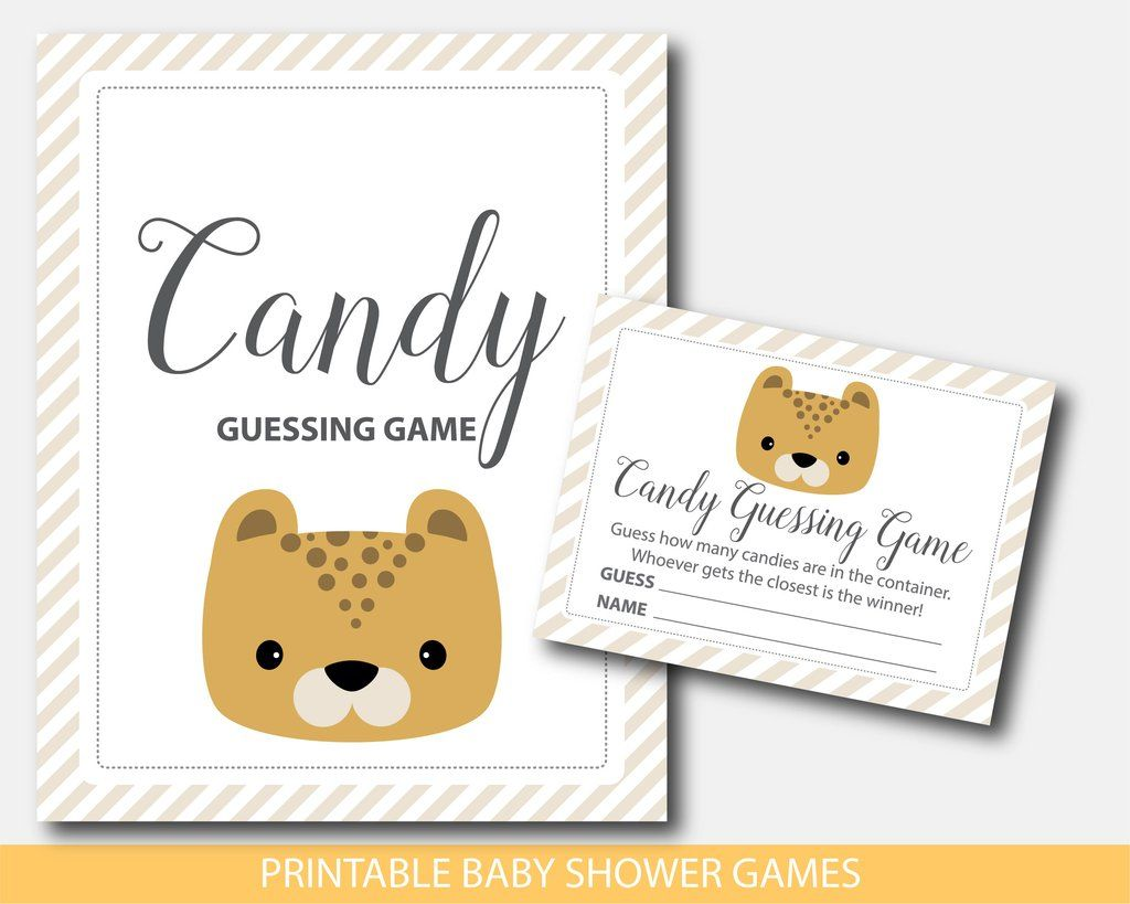 Leopard baby shower candy guessing game, BS8-16 | Safari Baby Shower