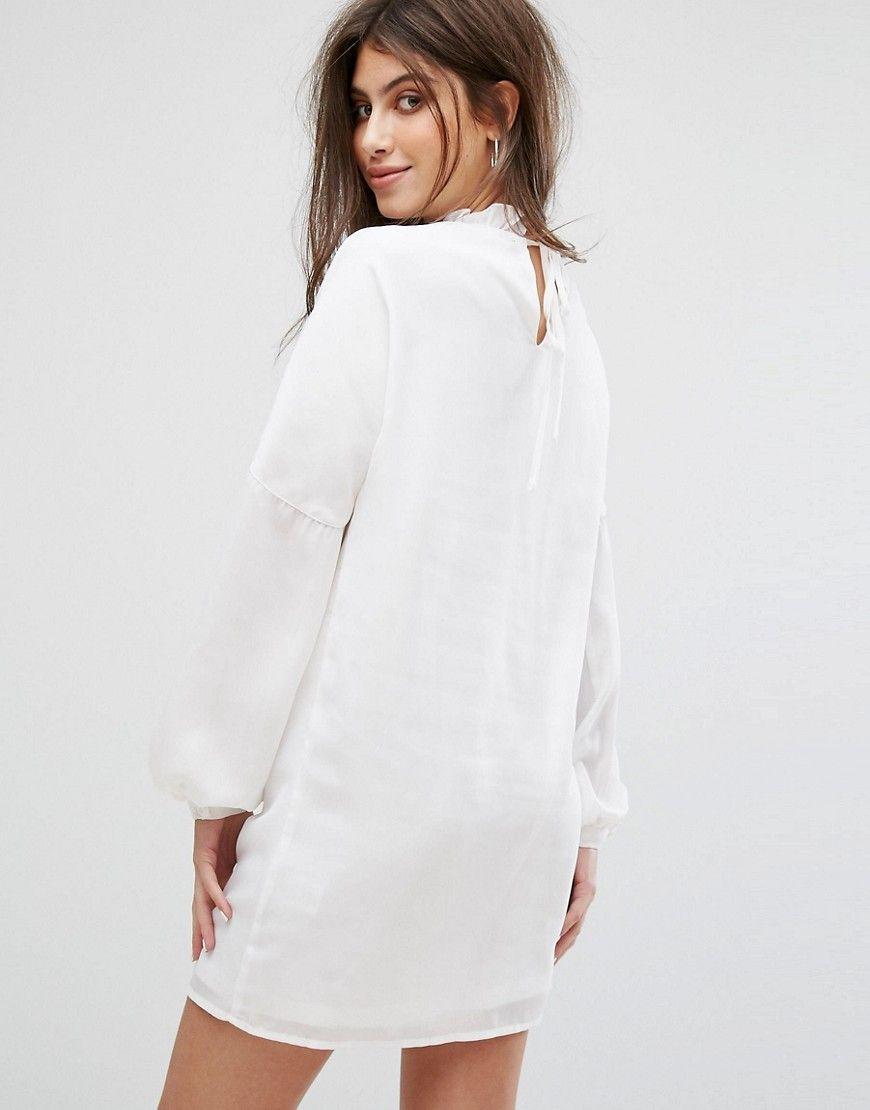 Long Sleeve Smock Dress With Ribbon Tie Gathers - White Fashion Union Plus j7d1BzVY