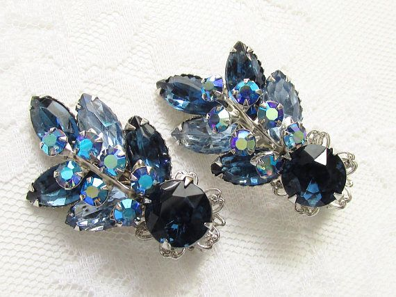 28549aa10b3f7 Huge Vintage Blue Rhinestone Ear Climber Earrings signed Beaujewels ...