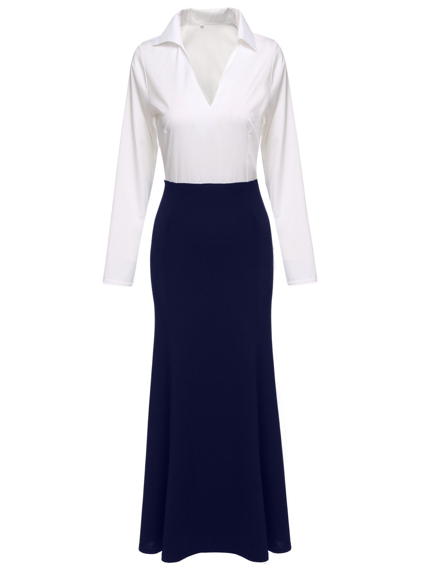 Fashion women vneck long sleeve patchwork slim fit maxi long dress