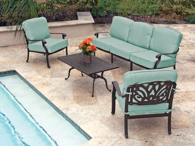 Royal Terrace Toscano Cast Aluminum 4 Pc. Sofa Group Artisan crafted  ornamentation, gorgeous but made to withstand the elements. - Royal Terrace Toscano Cast Aluminum 4 Pc. Sofa Group Artisan Crafted