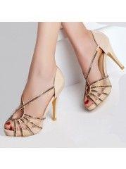 Brilliant Rhinestone Peep Toe Hollow Out Dress-sandals
