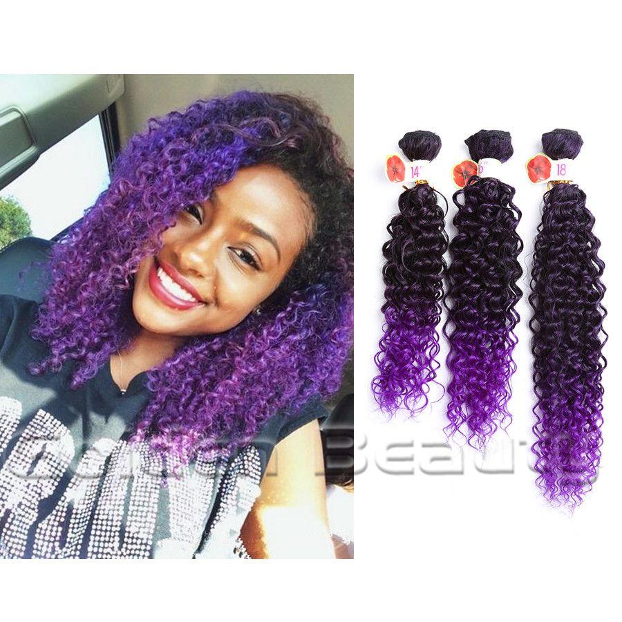 6pcsset Mediem Length Ombre Purple Color Deep Jerry Curly Synthetic
