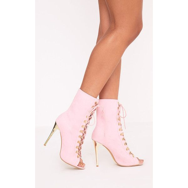 3ae239878b8 Elina Pink Lace Up Ankle Boots ( 45) ❤ liked on Polyvore featuring shoes