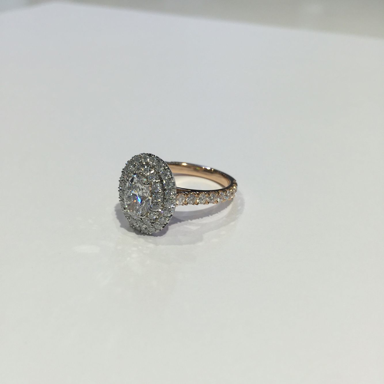 Double Oval Rose Gold Halo Made by Hearts of London Our designs