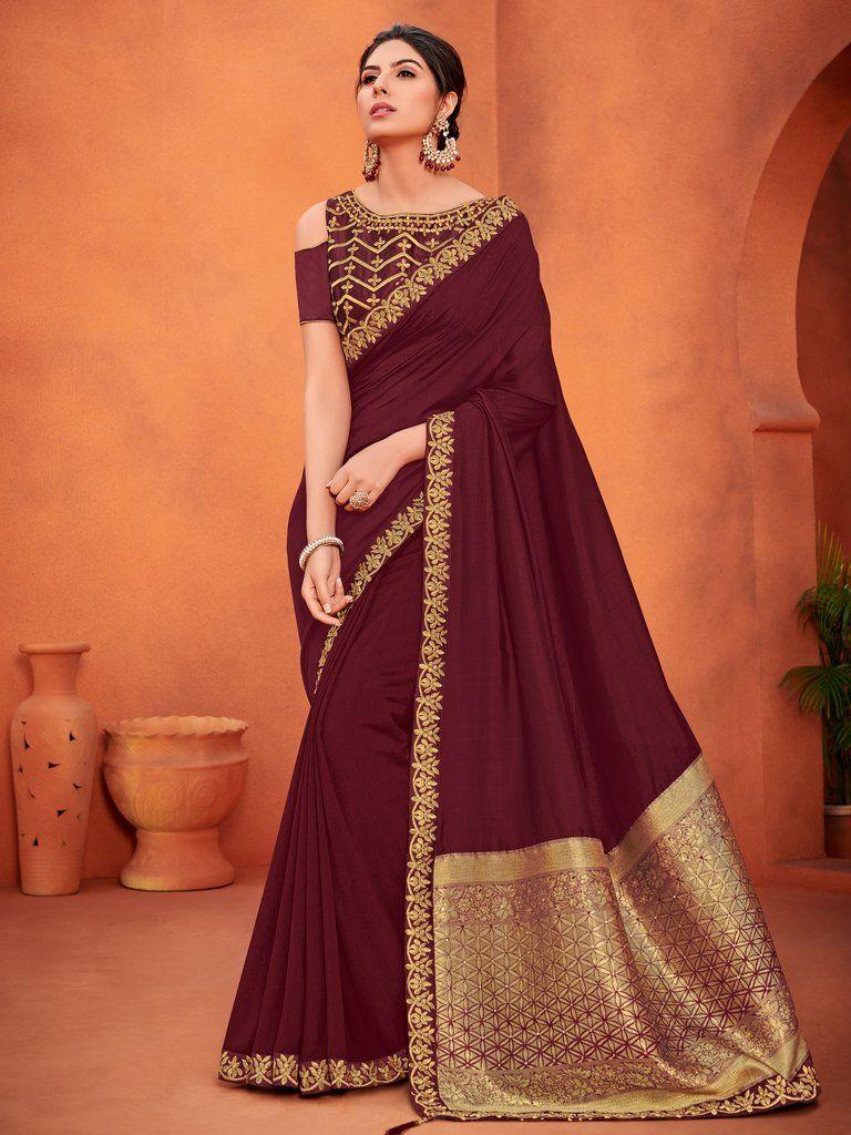Wine Embroidered Art Silk Saree Unstitched Blouse Sarees Saree Sari Embroideredsarees Des Party Wear Sarees Party Wear Sarees Online Traditional Sarees