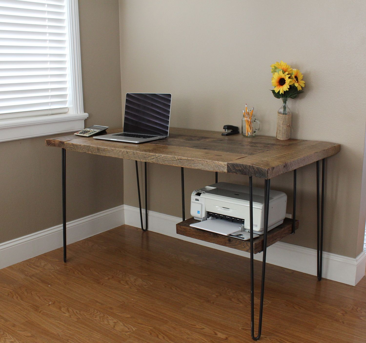 Reclaimed Oak modern desk This reclaimed oak desk features hairpin legs and a hanging printer shelf Custom built by Timber & Soul Wood top with metal