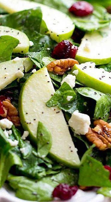 Salade de noix de pécan et de canneberges avec vinaigrette crémeuse aux graines de pavot Salade de noix de pécan et de canneberges avec vinaigrette crémeuse aux graines de pavot ,