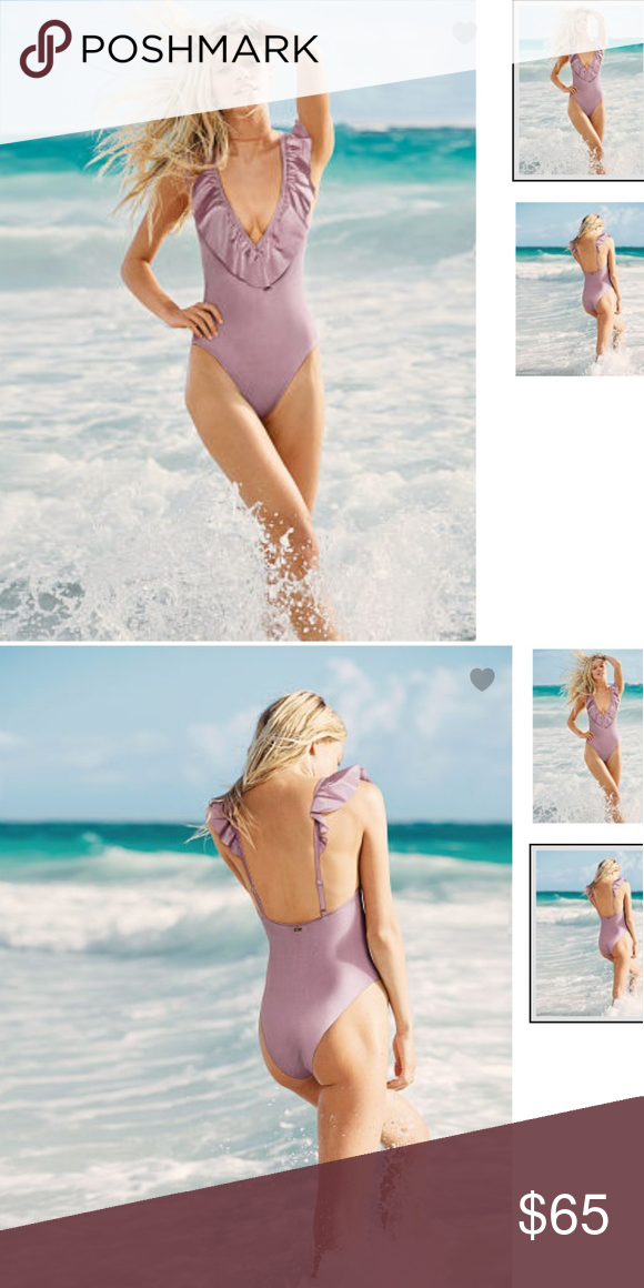 25c358a4eebf3 PINK by VS | Deep-V One-Piece Swim Suit | LARGE PINK by Victoria's ...