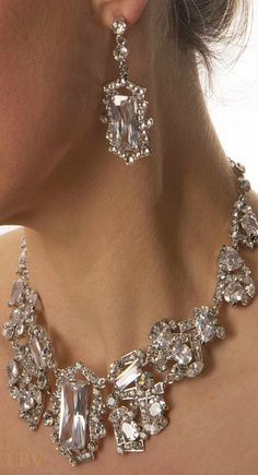 Swarovski Crystal Large Stone Necklace And Earrings Lbv