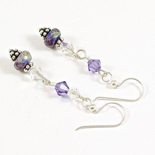 Faceted Sugilite Earrings Silver Tanzanite Swarovski Handmade Dangle | @solanakaidesign - Jewelry on ArtFire
