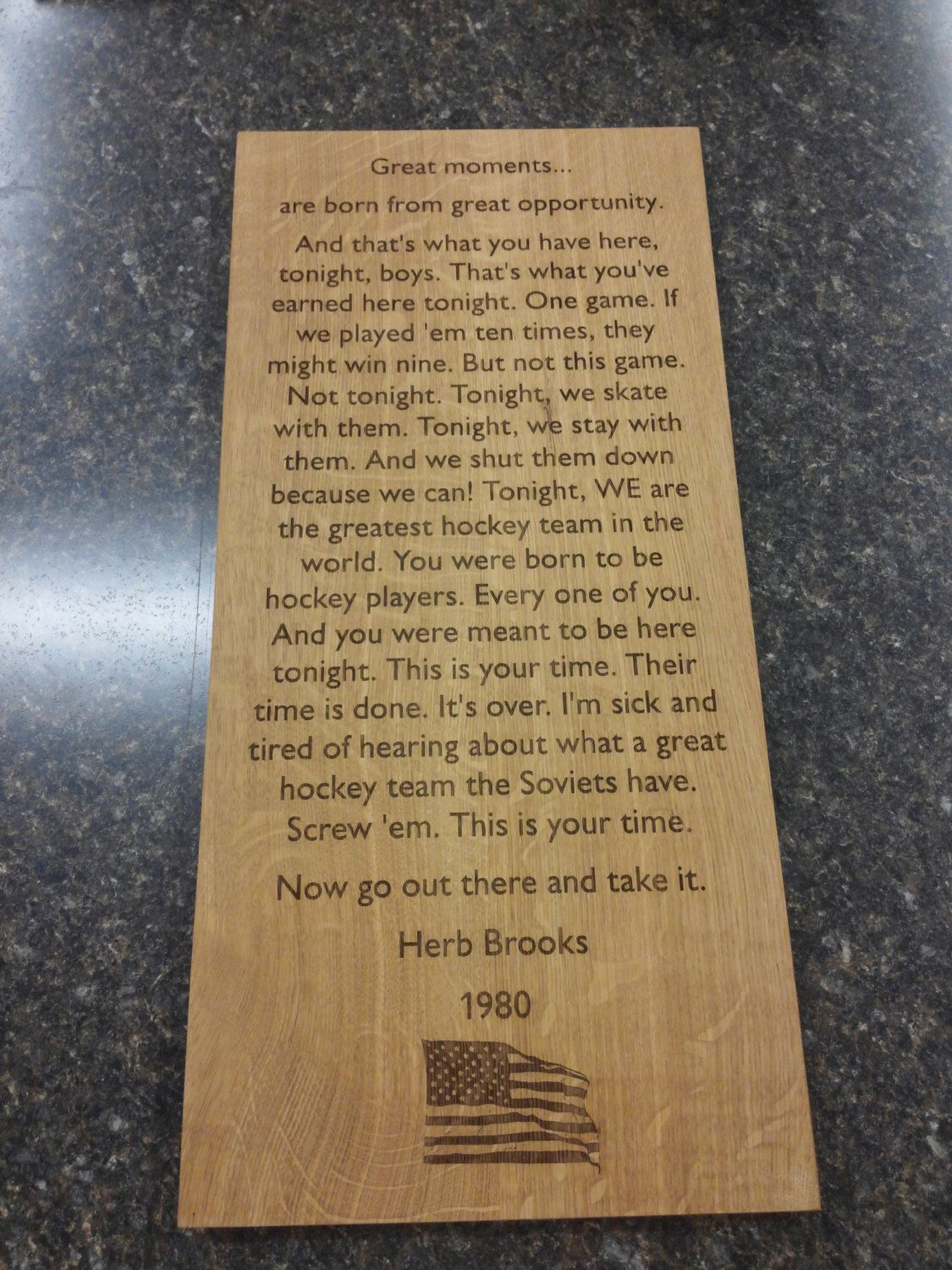 garage man cave Rules Sign Wall Sign Carved Engraved 11x24 Herb Brooks quote USA Hockey Team 1980 Olympics Hockey