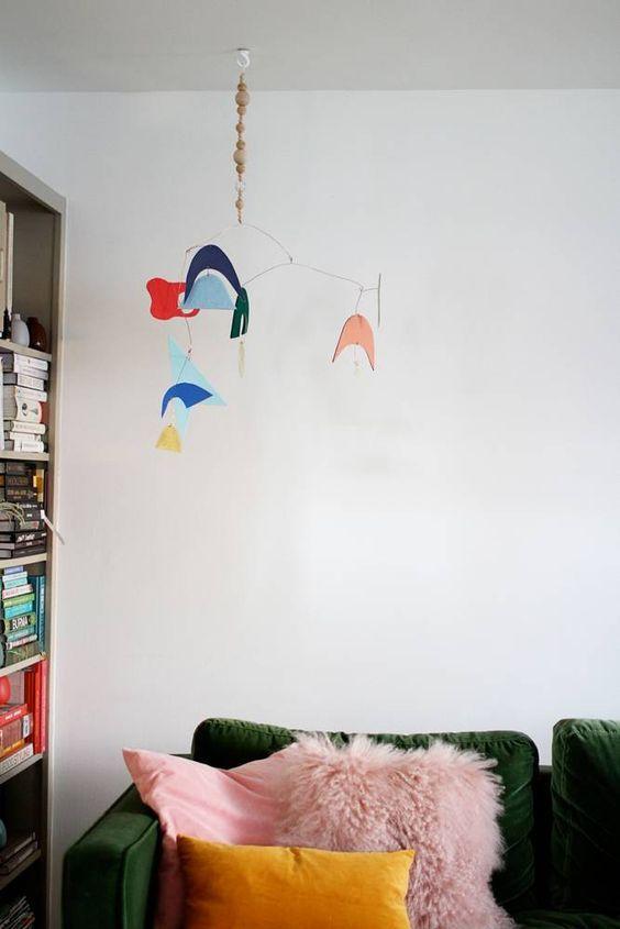 Midcentury Boho Living Room | Dark Green Velvet Sofa With Pink And Mustard  Yellow Cushions |