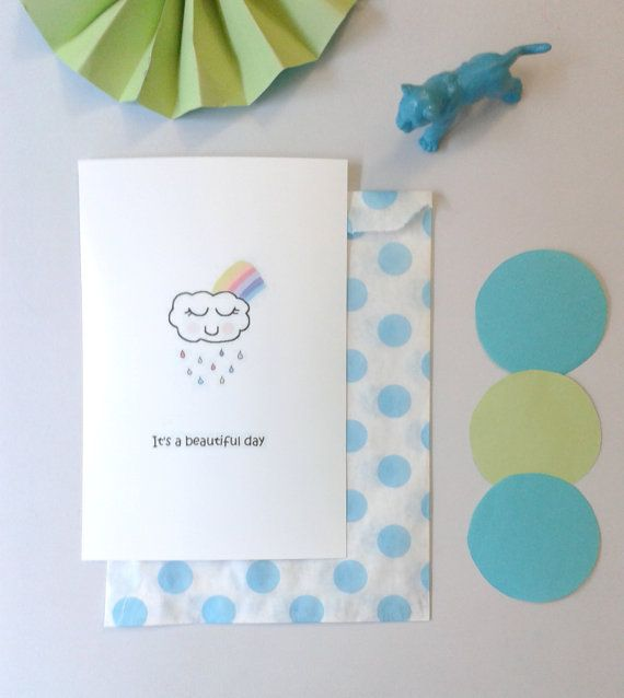 Carte postale nuage it's a beautiful day personnalisable par DiyByM Cute card on etsy with cloud and rainbow, customizable