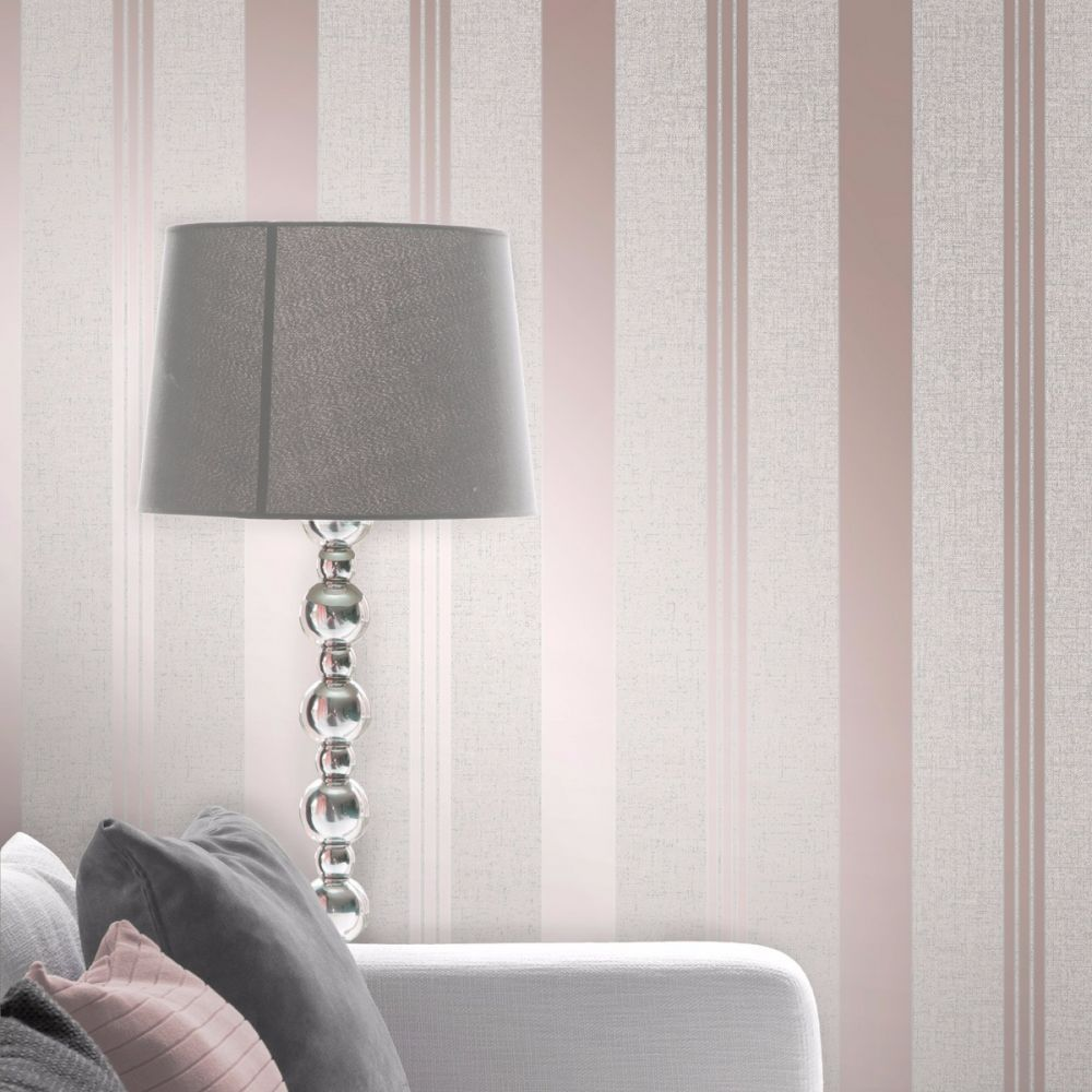 Bold Stripe Grey Cream Silver Rose Gold Metallic Shimmer Wallpaper Modern