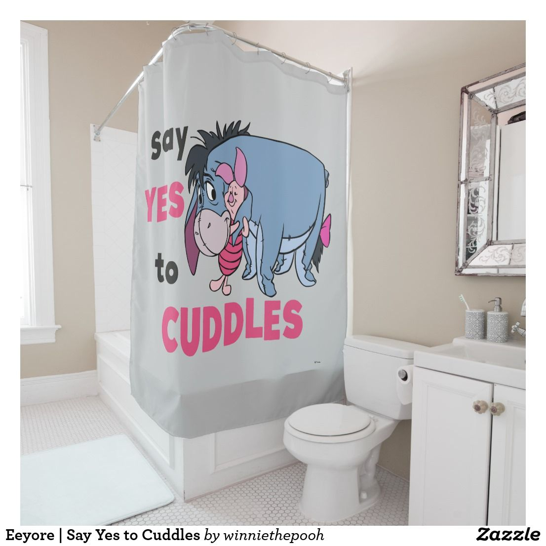 Eeyore Say Yes To Cuddles Shower Curtain Zazzle Com Eeyore Personalized Bathroom Eeyore Quotes