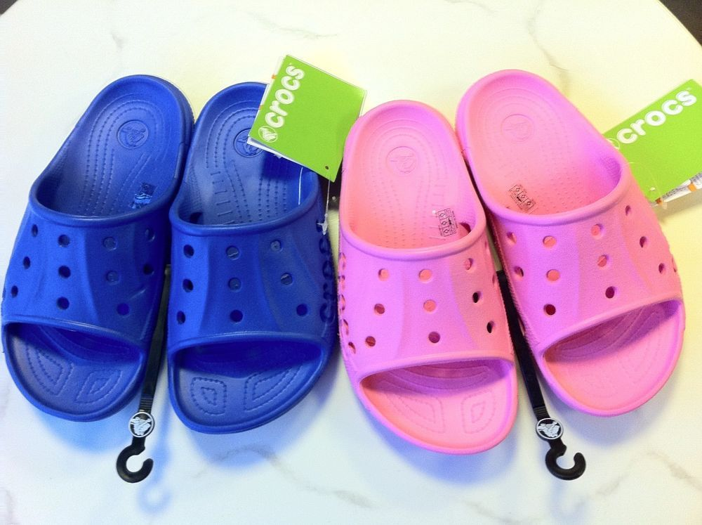 c0237d835 Crocs Baya Slide Sandal Junior Sizes NWT Pink Leomonade and Sea Blue NWT   Crocs  FlipFlops