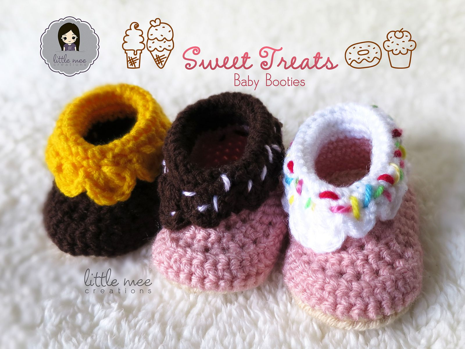 Make these cute Sweet Treats booties by Doris Yu (Little Mee Creations) with Lion Brand Vanna's Choice! Paid pattern on Ravelry.