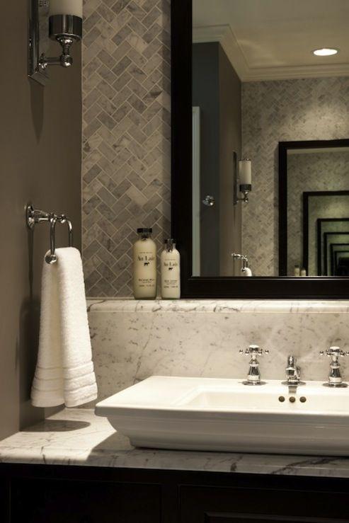 Benjamin Moore Dolphin Bianco Carrara Marble Herringbone Tiles Urban Archaeology Loft Li Contemporary