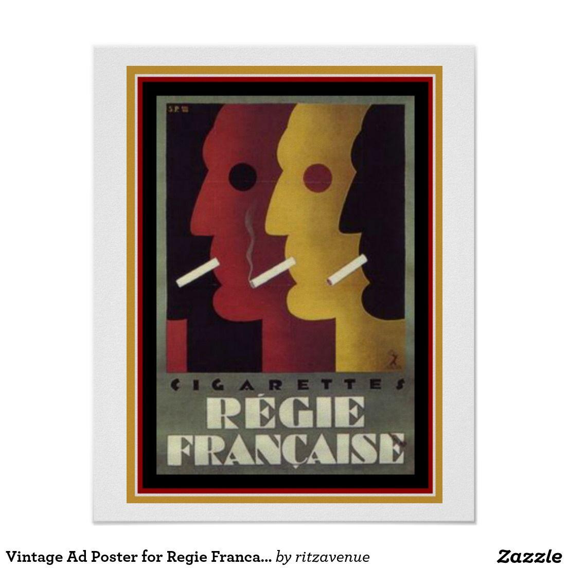 Vintage Ad Poster For Regie Francaise Cigarettes 1430