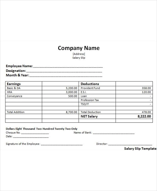 Salary Slip Templates Payroll Template Word Template Salary