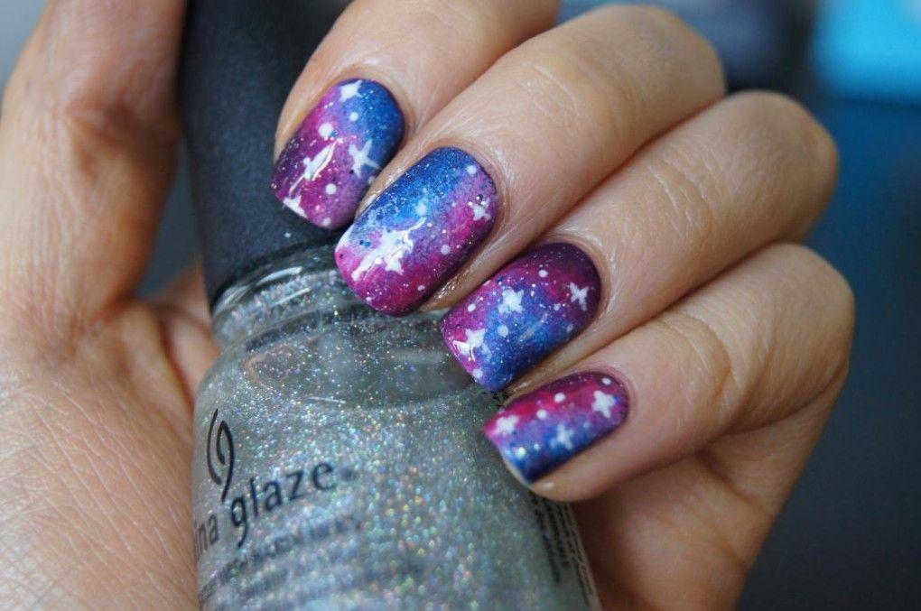 Short Spring Nails Nail Art Stylish Galaxy Nail Art Design Idea
