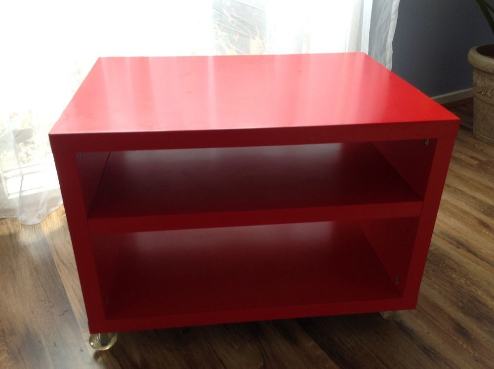 Red Ikea Tv Stand Cabinet Lowline Unit On Wheels