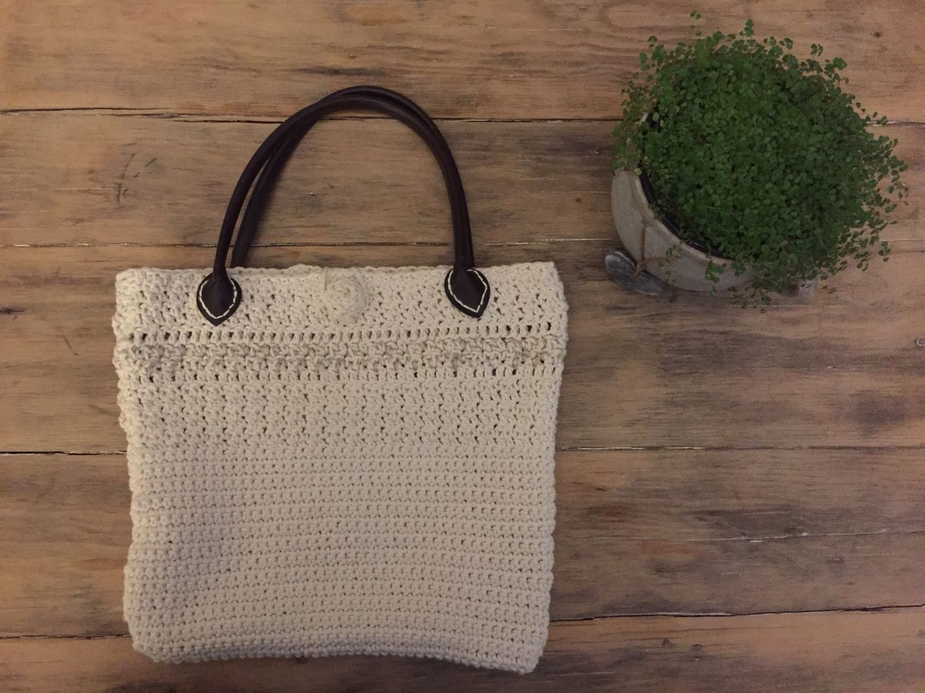 Raw cotton crochet bag - made by me