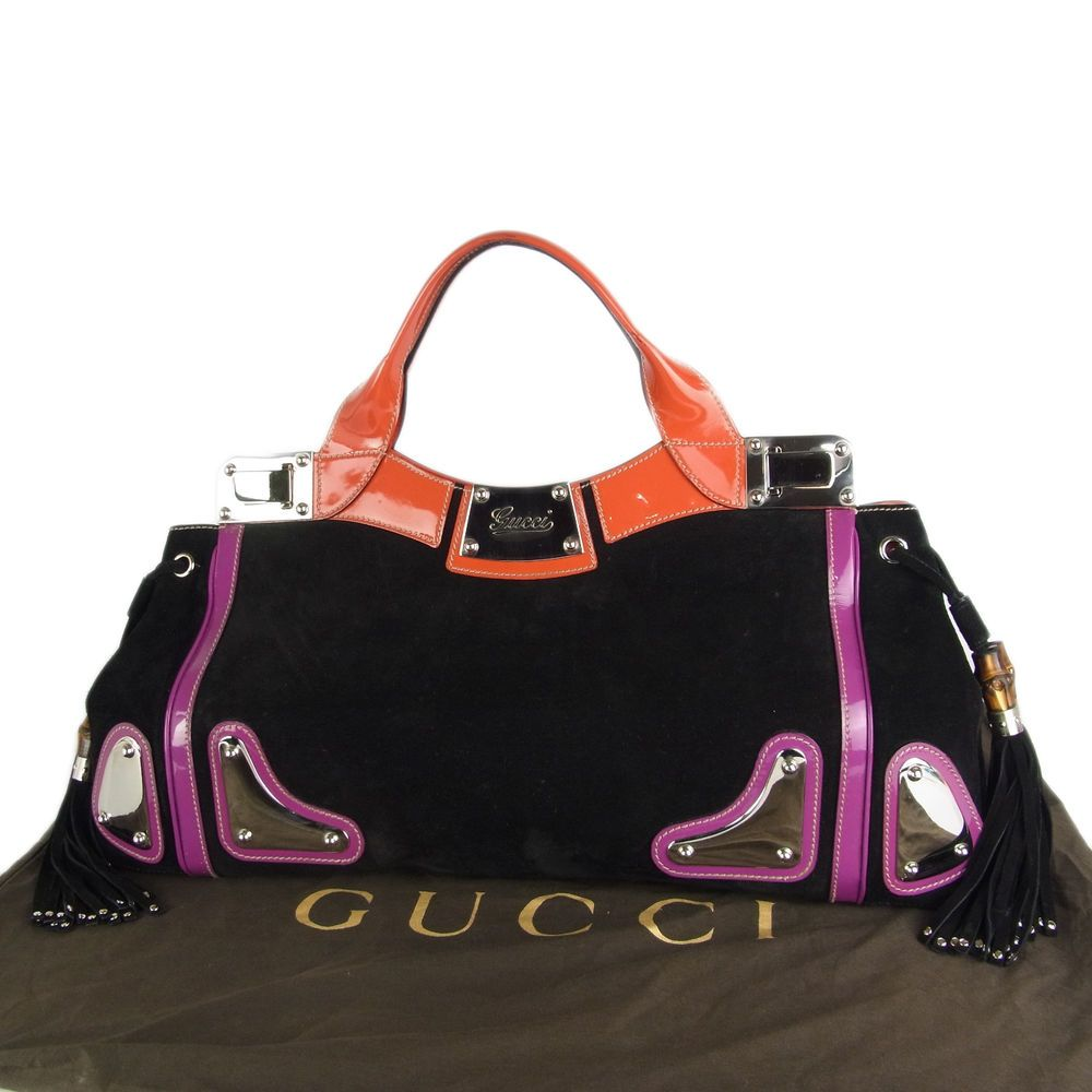7690a9969b0e Auth GUCCI Logos Bamboo Tassel Floral Leather Hand Bag Gorgeous F S  23087eSaM  Gucci  HandBag