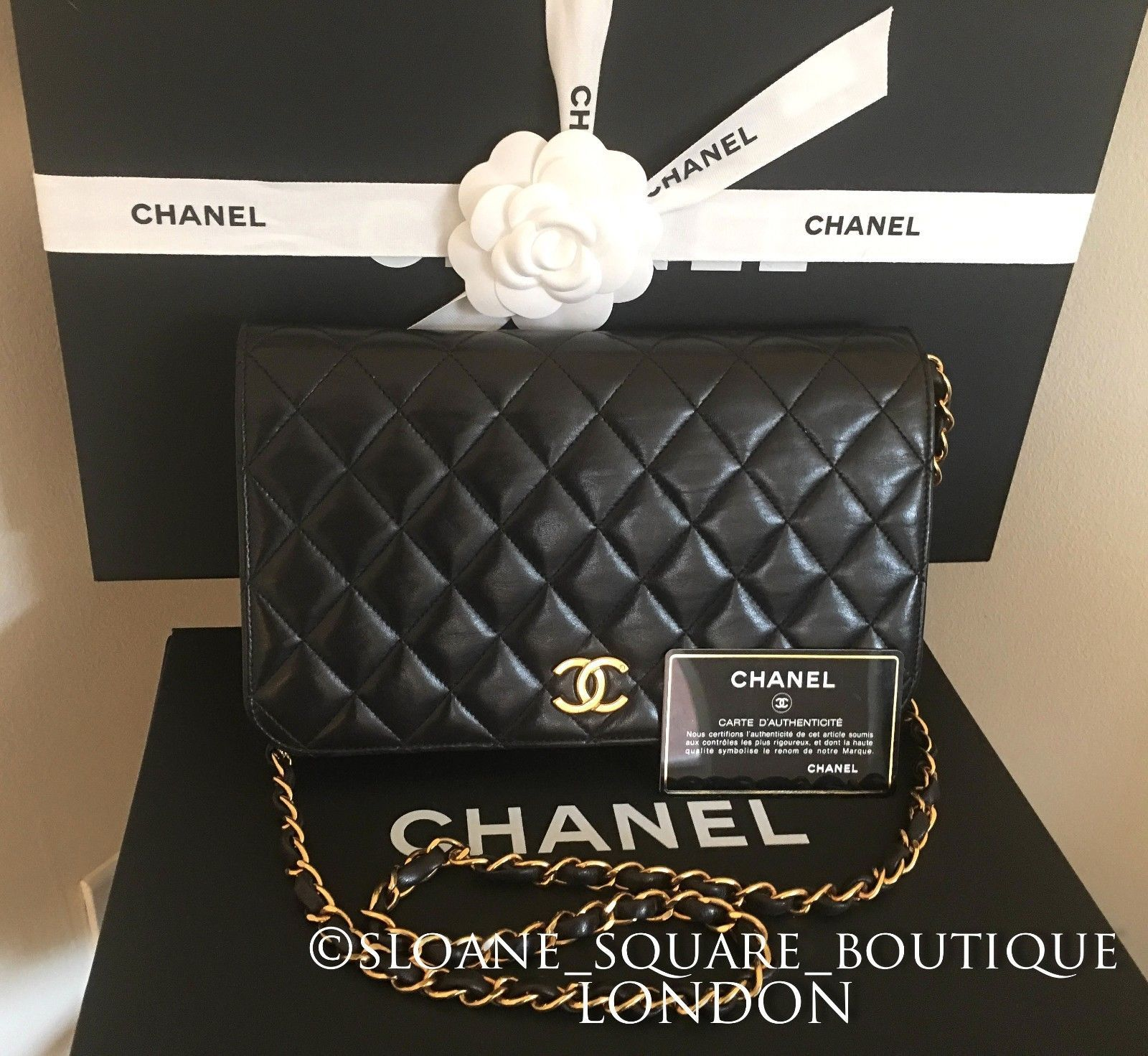 f4f222dd49c4 Authentic CHANEL Vintage WOC Black Lambskin Quilted Wallet On Chain Bag GHW  | eBay