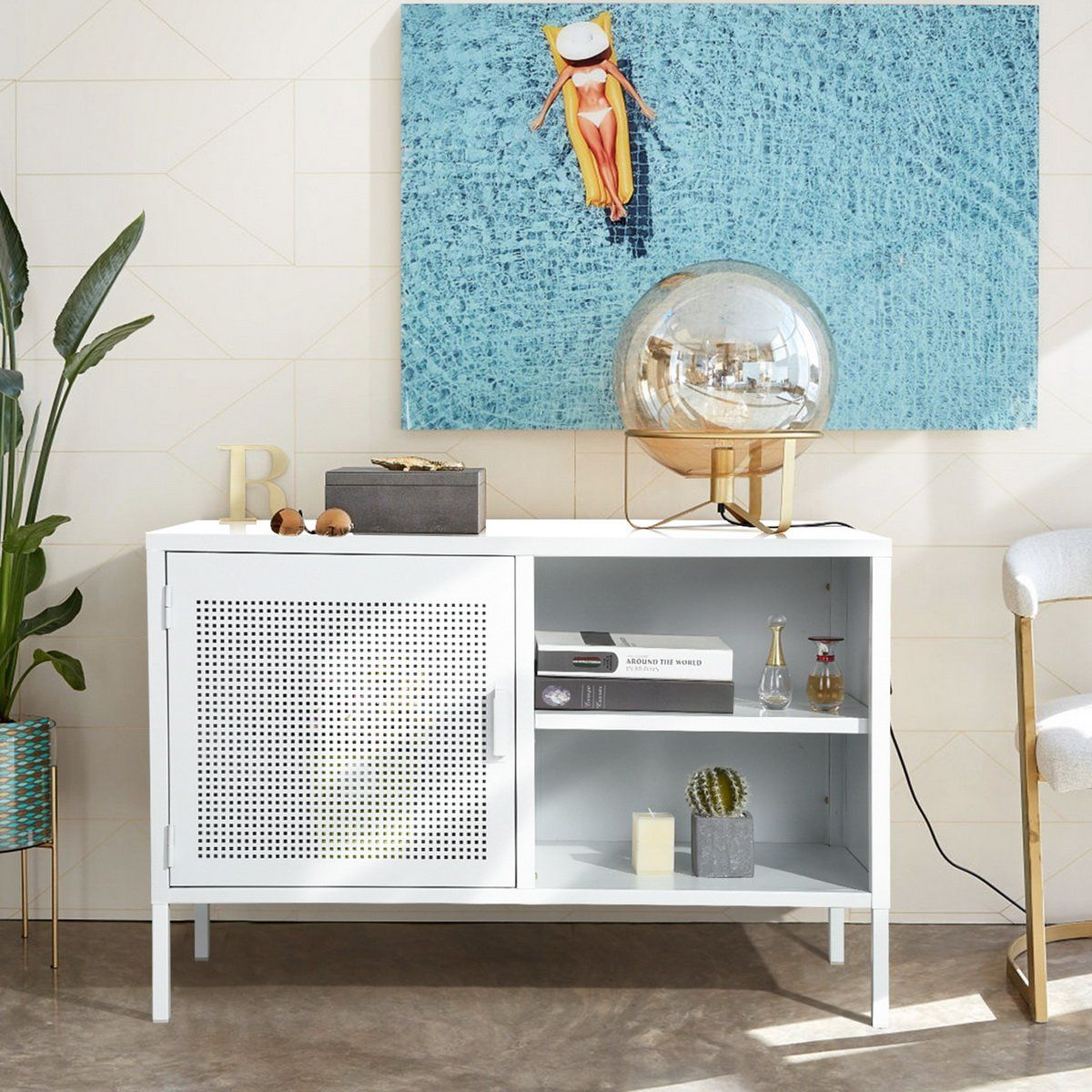 Modern 3-Door Metal Storage Cabinet, Multifuction 2-Tier Wide Home Kitchen Office Storage Sideboard Cupboard Console Stand (Isaac) - White