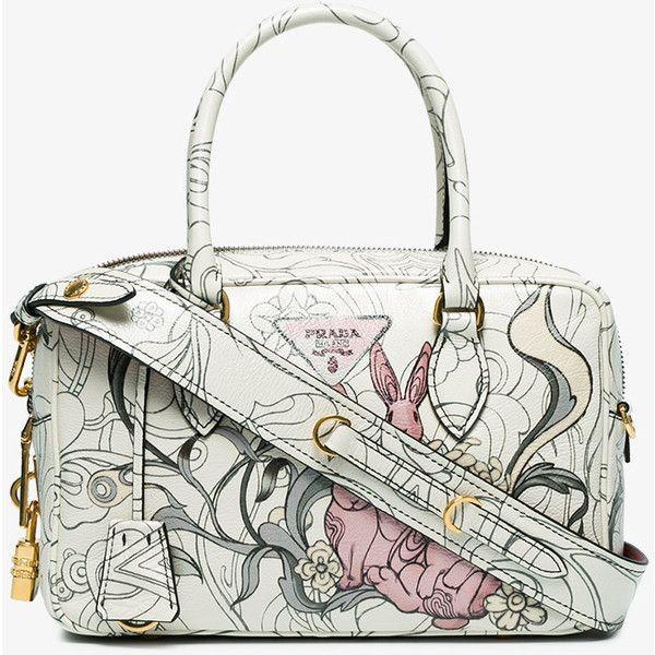 41008407b9c7 Prada White Rabbit Print Leather Tote Bag (9