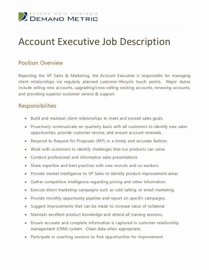 Sales Manager Job Description Resume Best Of Account Executive Job