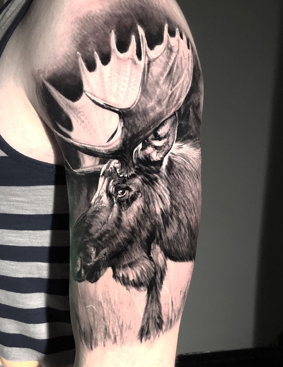 Moose Tattoo Half Sleeve Done At Fy Ink By Artist Kyle