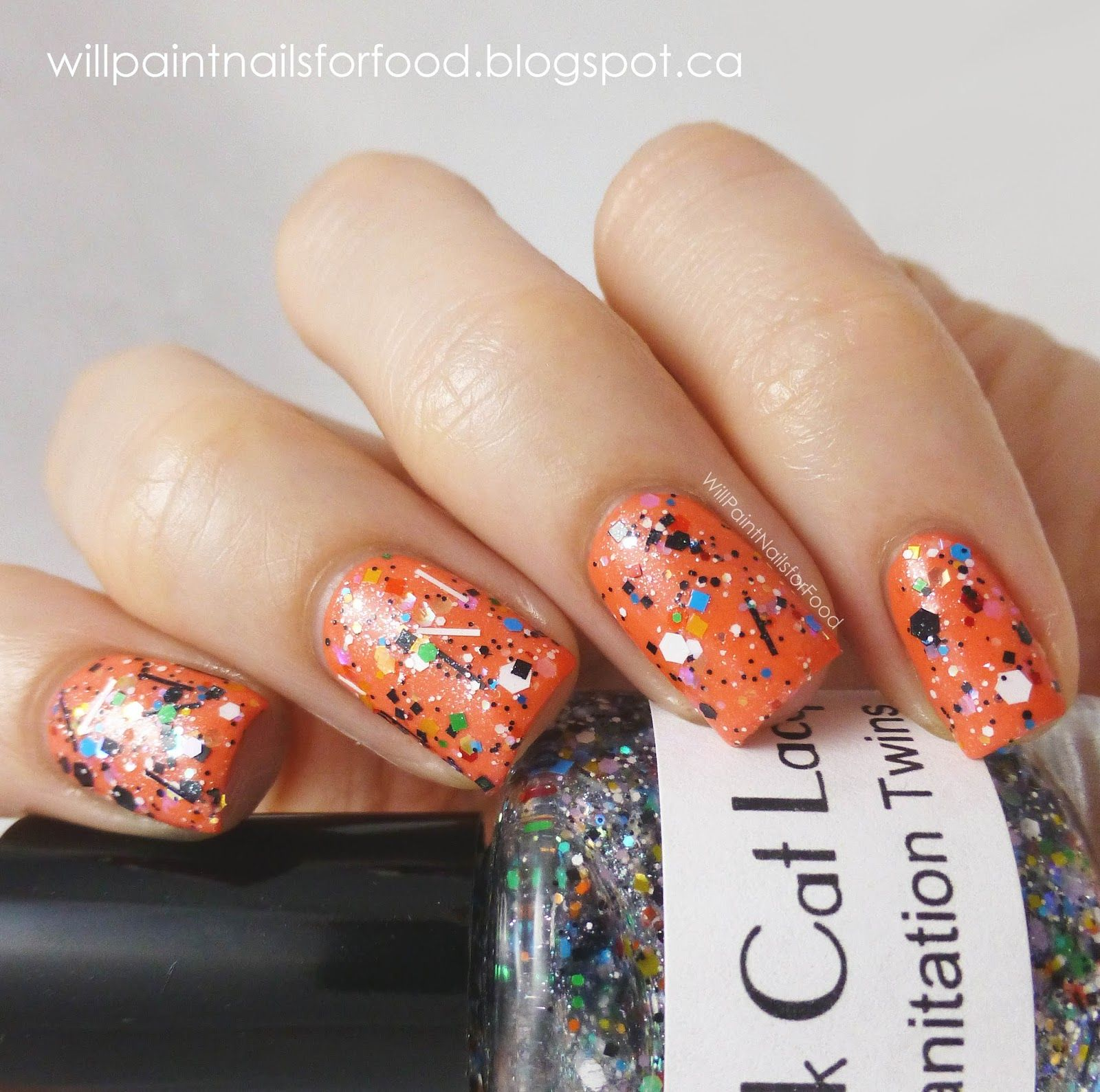 Black Cat Lacquer Sanitation Twins over Models Own Fuzzy Peach