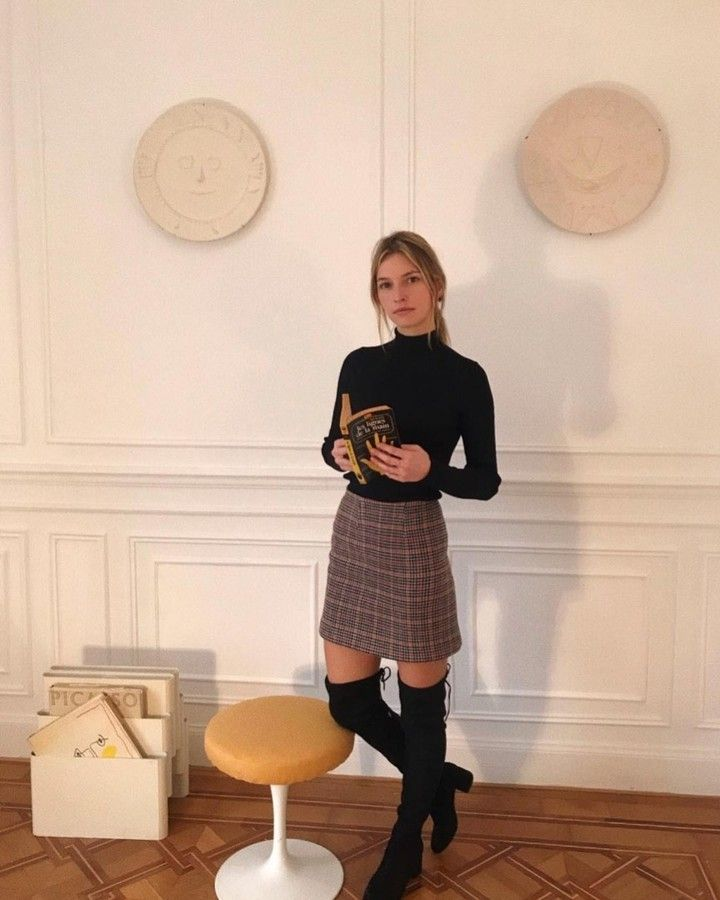plaid wool skirt and over the knee boots // @lucilliachenel #frenchgirlstyle