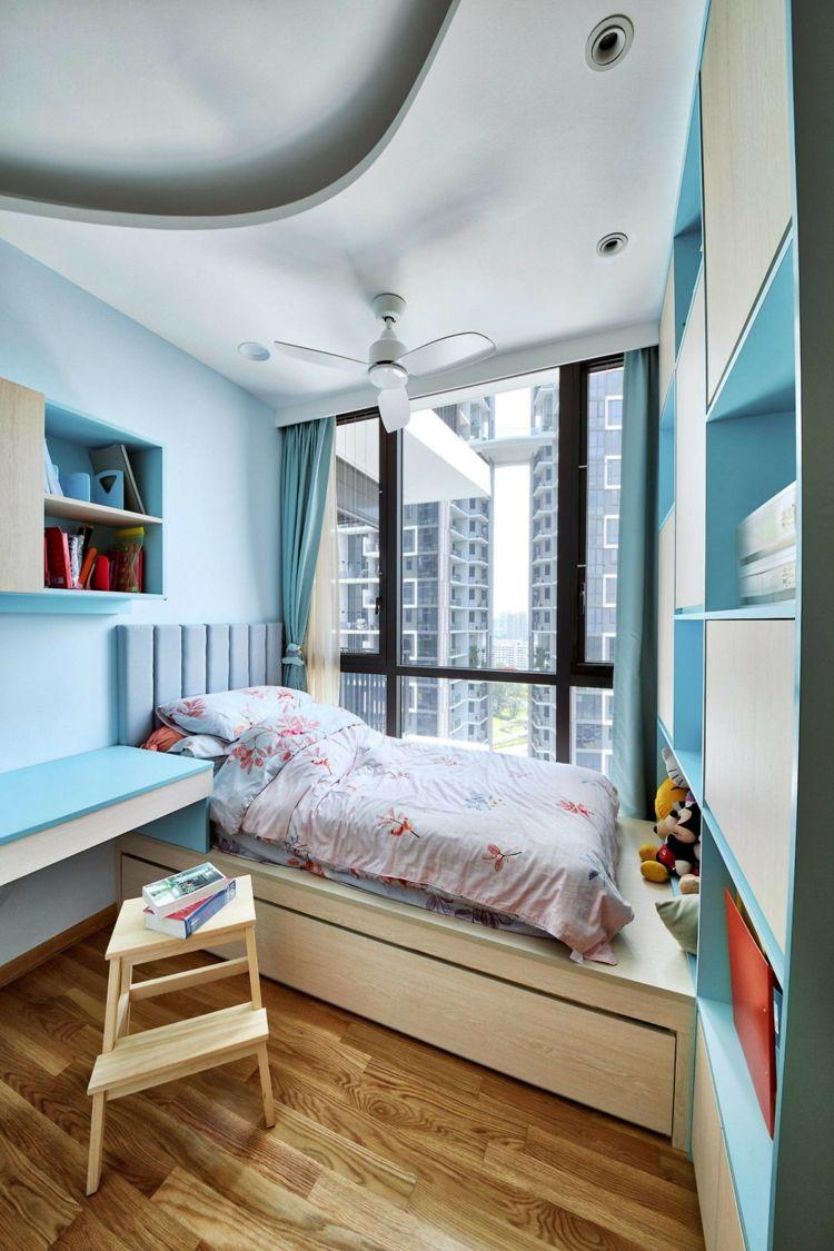 Apartment Einrichtung kinderzimmer blaue nuancen parkett boden loft apartment einrichtung