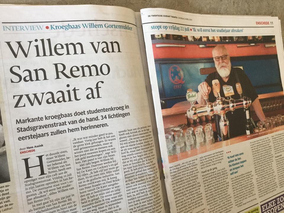 Kroegbaas Willem Gortemulder doet San Remo van de hand. Veel alumni hebben vast mooie herinneringen aan hem. Deel die met ons svp. Als een eerbetoon aan Willem!