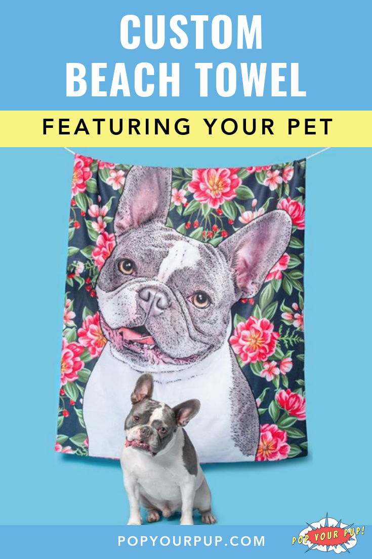 Stay Warm And Stylish With This Custom Beach Towel Featuring A Pet