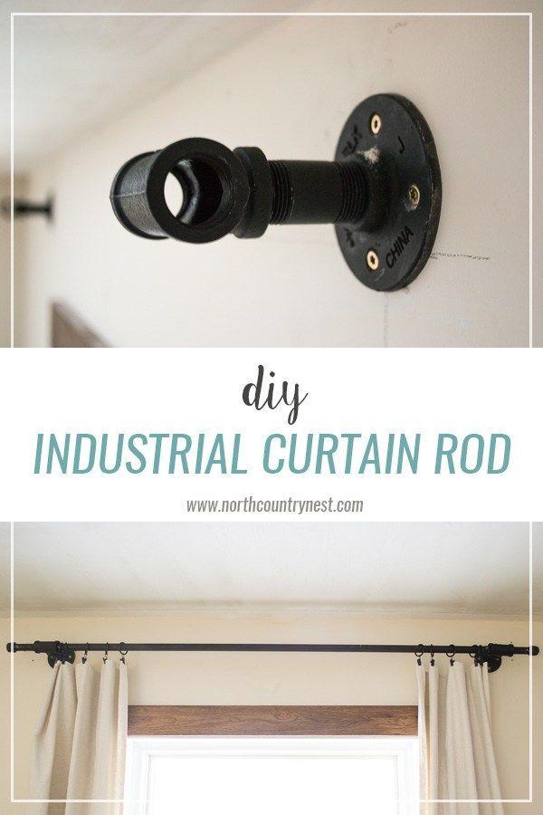 diy industrial curtain rod industrial