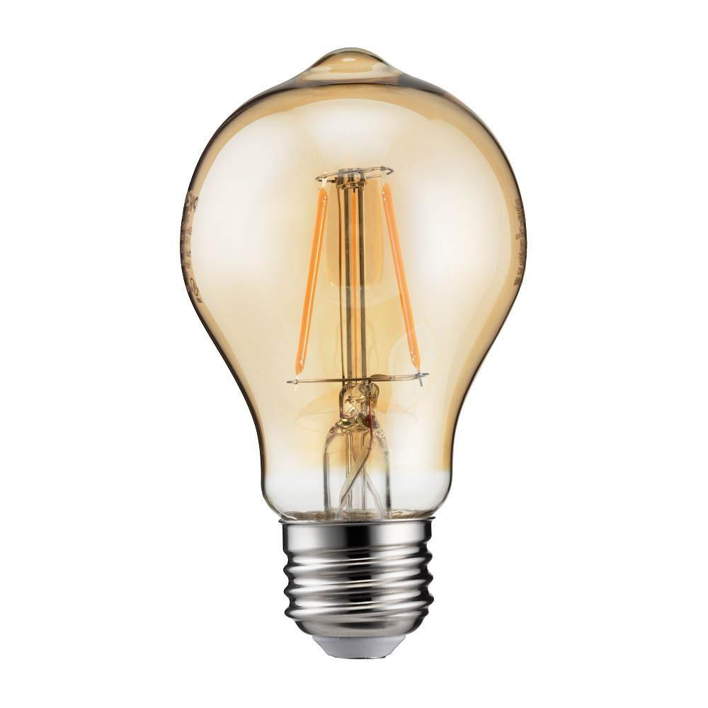 Philips 60 Watt Equivalent A19 Dimmable Indoor Outdoor Vintage Glass Edison Led Light Bulb Amber Warm White 2000k 4 Pack 461632 The Home Depot Led Light Bulb Bulb Edison Led