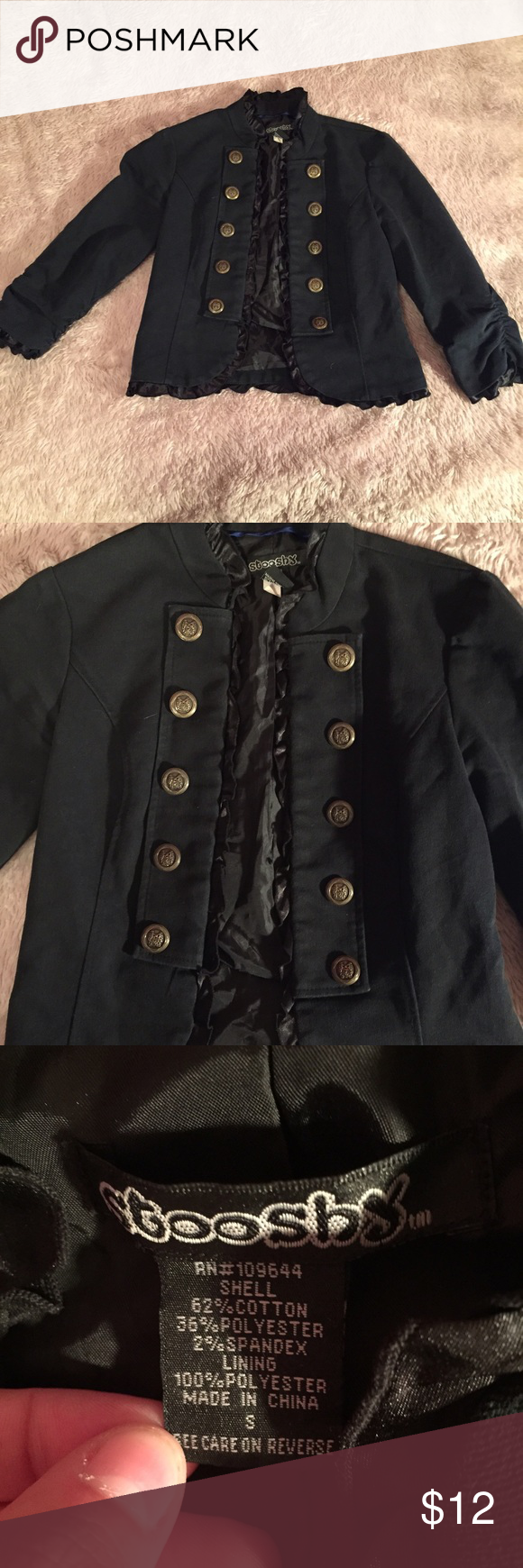 Lightweight jacket Lightweight dressy jacket in good used condition. Does not actually button, the buttons are just for decoration. Size small. 62% cotton, 36% polyester, 2% spandex stooshy Jackets & Coats Utility Jackets