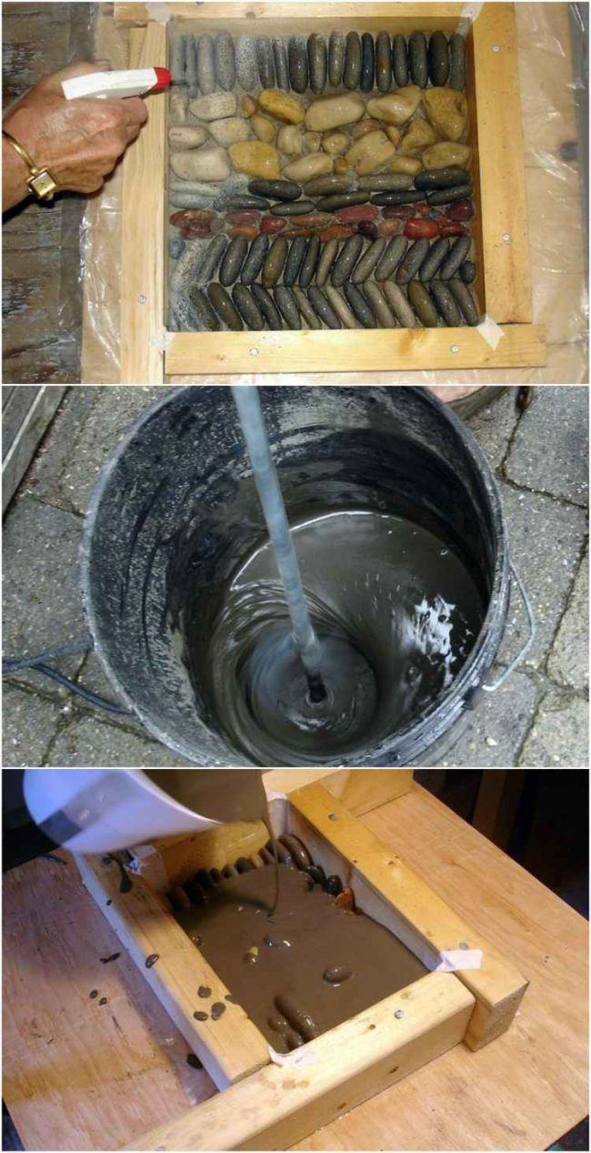 kieselstein-mosaik-selber-machen-beton-schablone-wasser-spruehen