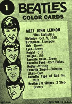The Beatles Color CardsMeet John Lennon