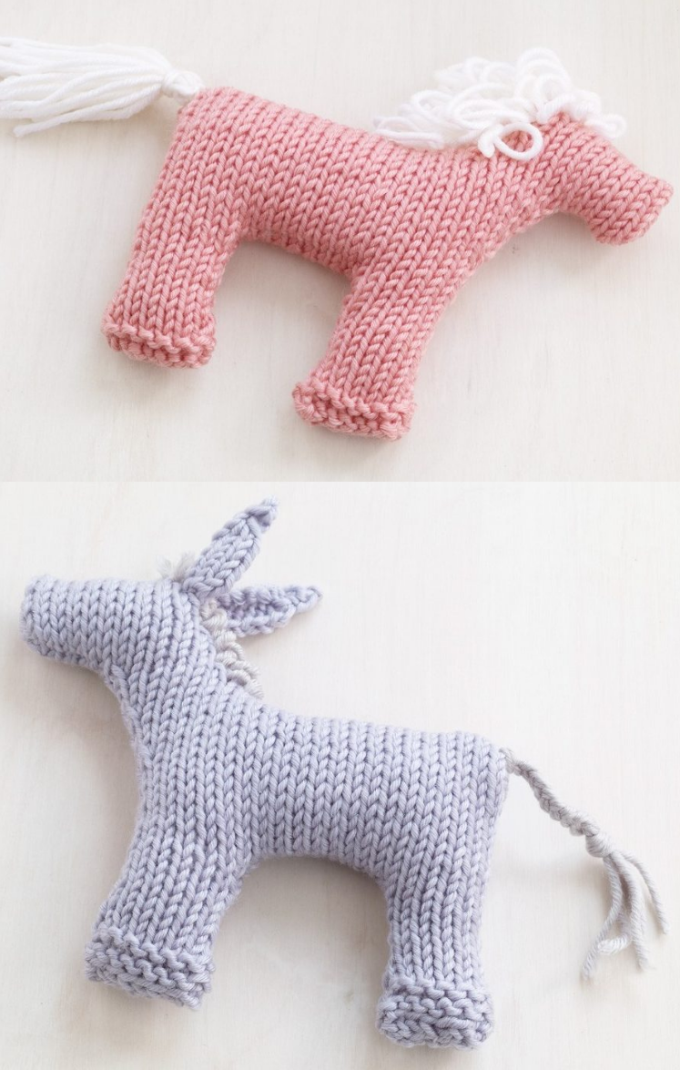 Free Knitting Patterns for Rosy Pony and Baby BurroThese easy toys ...