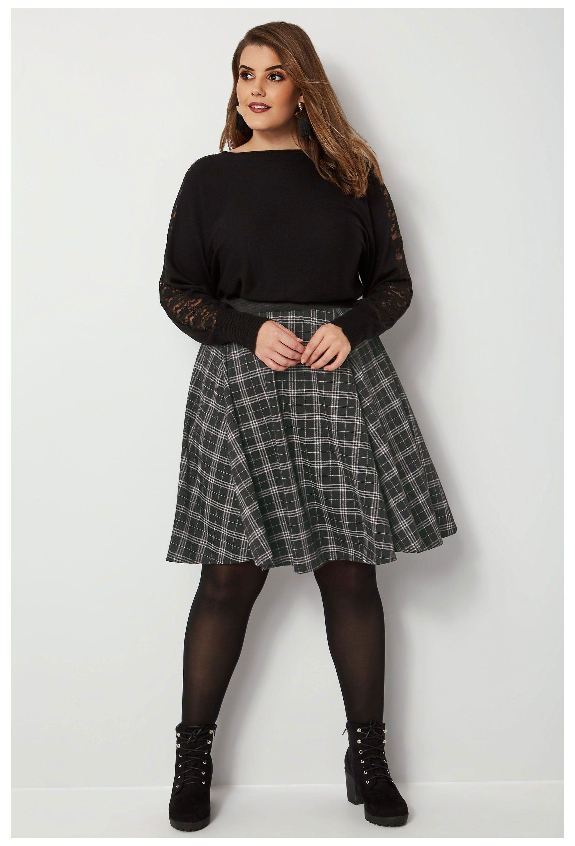 Plus Size Skater Skirts Ladies Skater Skirts Yours Clothing Skort Plus Size Skortplussize Black Ch In 2020 Plus Size Fashion Plus Size Outfits Plus Size Tights