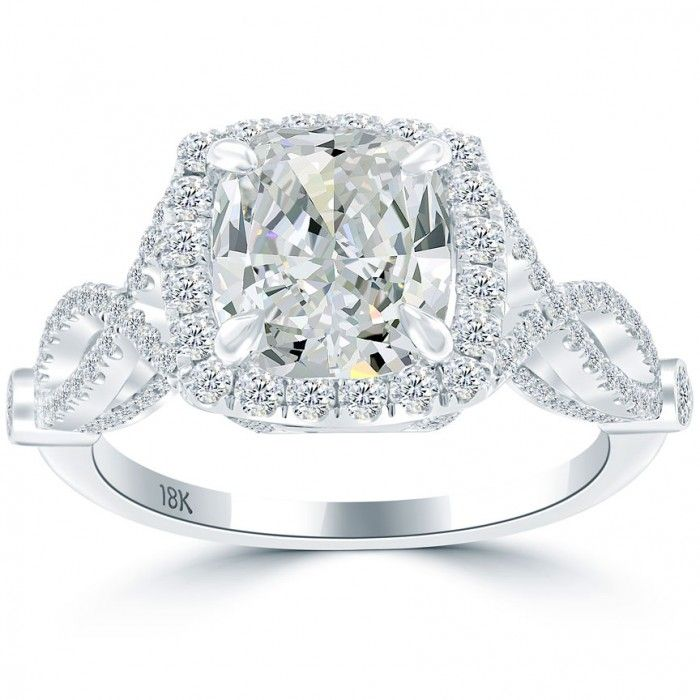 3.56 Carat F-SI2 Cushion Cut Diamond Engagement Ring 18k Pave Halo Vintage Style - Vintage Engagement Rings - Engagement